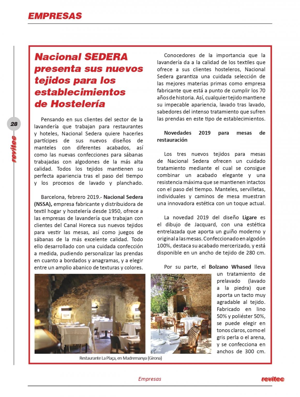 Nacional Sedera presenta sus nuevos tejidos para los establecimientos de Hostelería