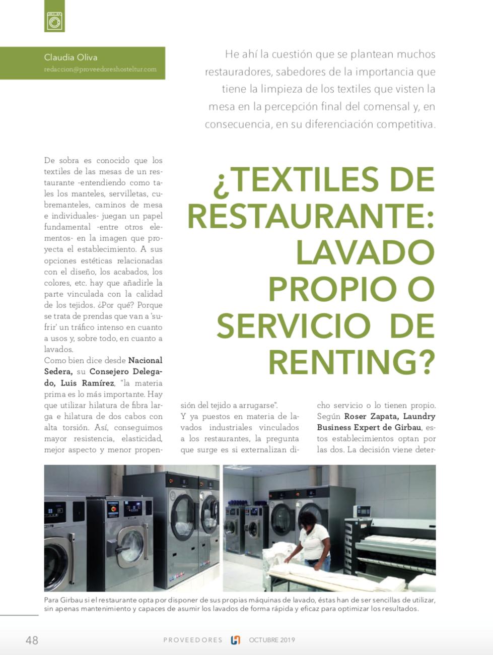 ¿Textiles de restaurante: lavado propio o servicio de renting?